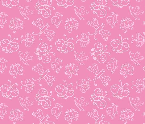 Happy Butterflies pink fabric by samvanvoorst on Spoonflower - custom fabric