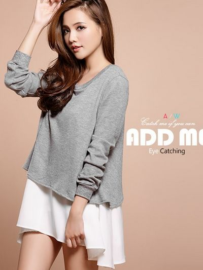 awesome Loose big lower hem two pieces long sleeve T-shirt -