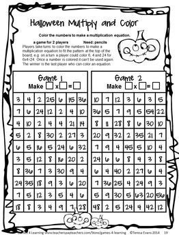 Halloween Math Games Fourth Grade by Games 4 Learning for bringing ...