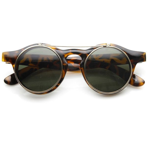 12a12f2052a Vintage Steampunk Clear Lens Flip Up Round Sunglasses 8822 (940 PHP) ❤  liked on Polyvore featuring accessories