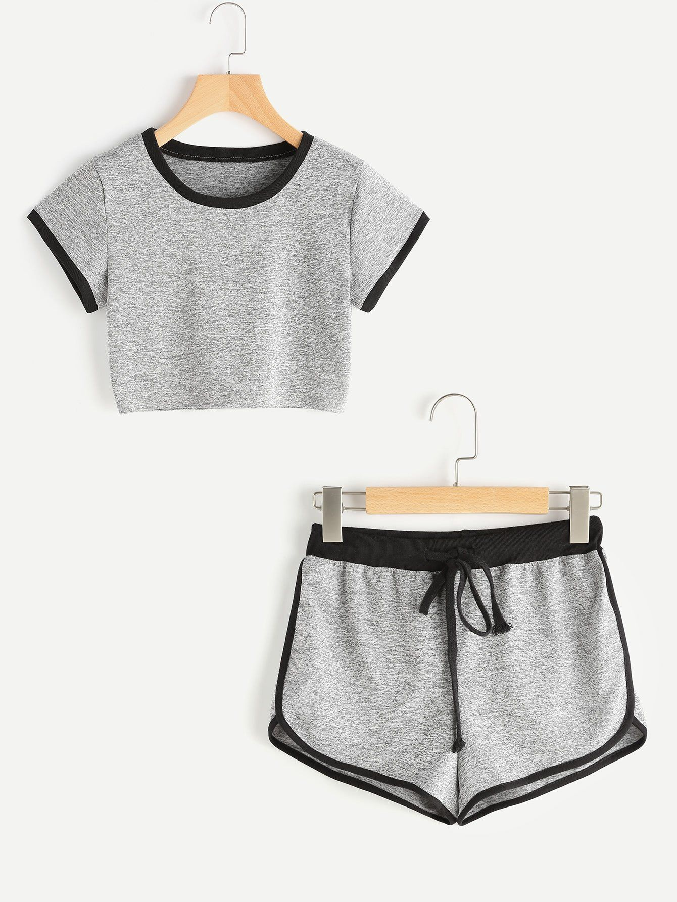 f5b43c3a73b9f Ringer Crop Tee With Dolphin Hem Shorts in 2019