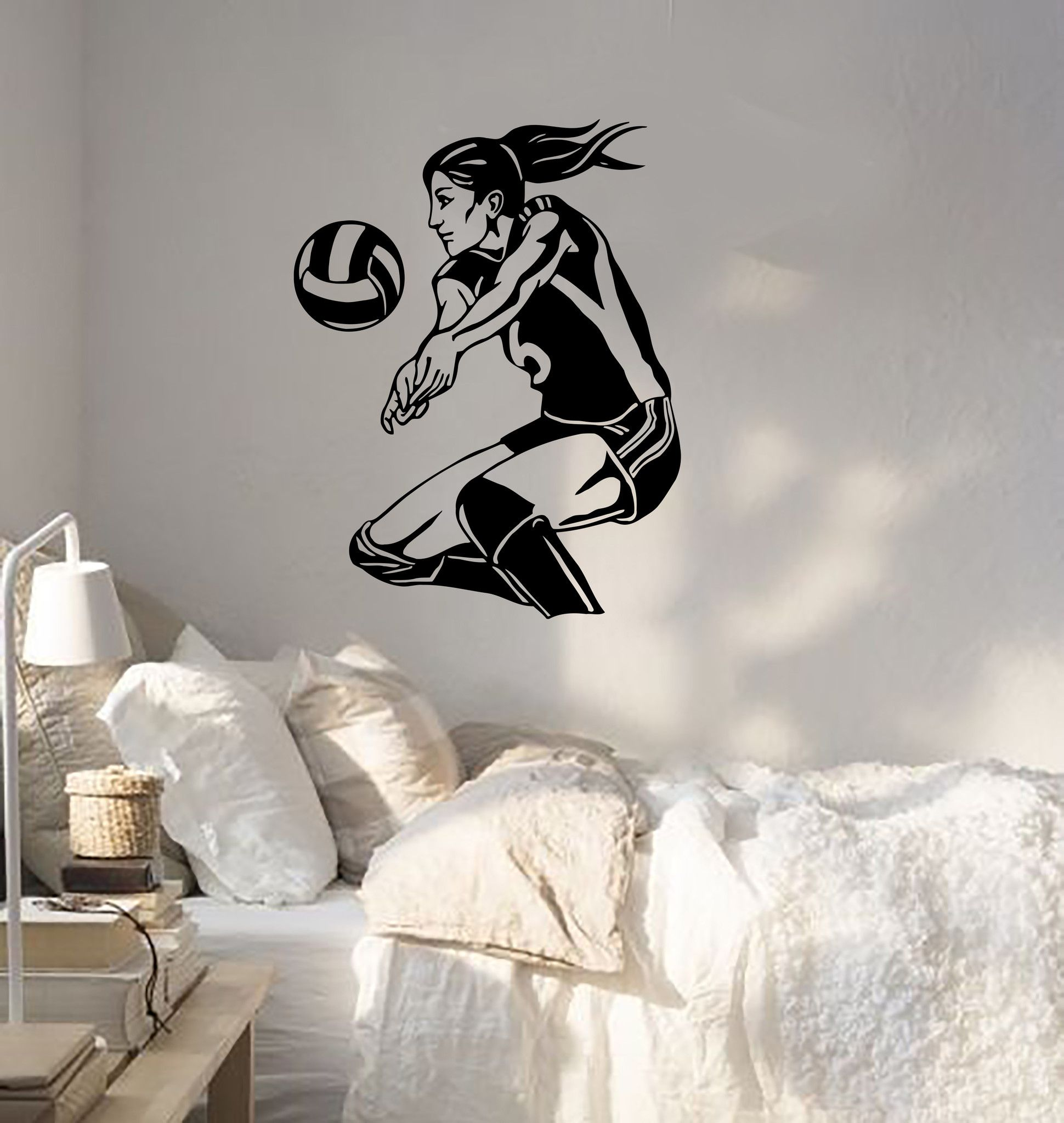 Wall Sticker Sport Volleyball Player Beach Woma Girl Female Vinyl Decal Unique Gift Z3068 Volleyball Players Sport Volleyball Volleyball