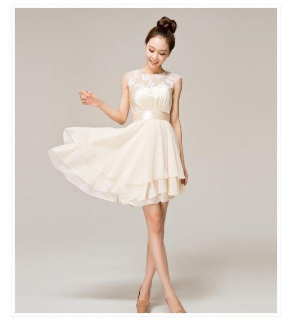 Ivory Short Lace Prom Dress Beige A-line Princess Straps Knee-length ...