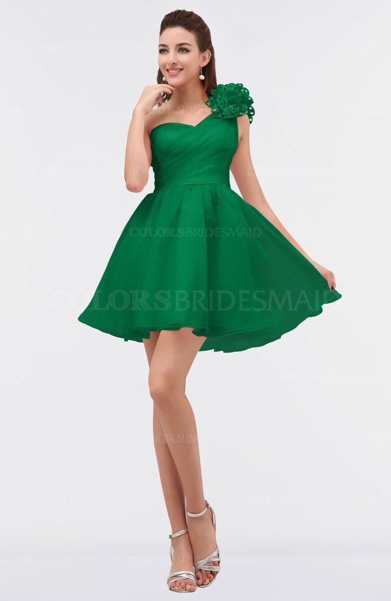Green short dress for wedding  Green Elegant Aline Sleeveless Zip up Short Flower Bridesmaid