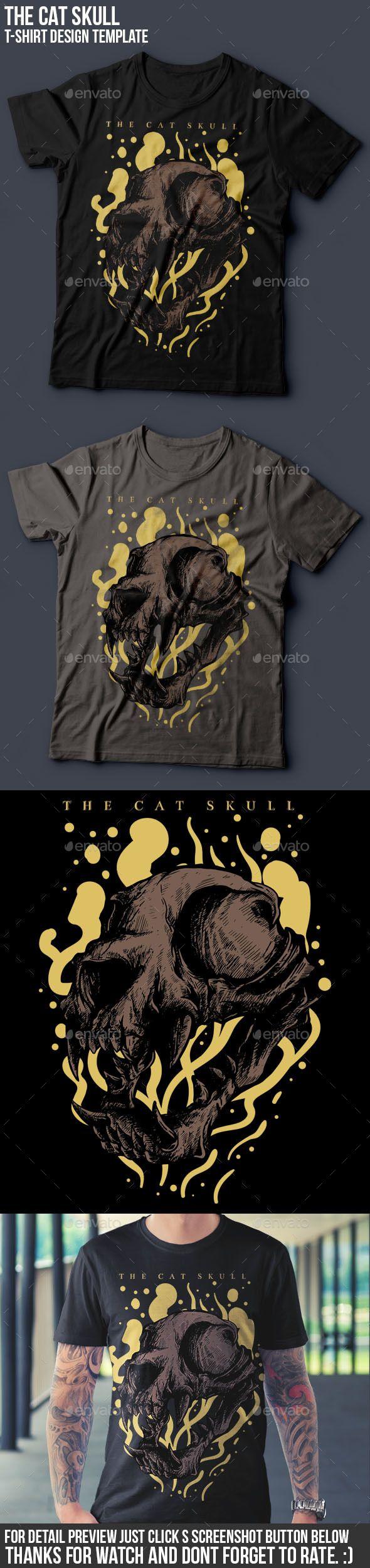 Shirt design resolution - The Cat Skull T Shirt Design Funny Designs