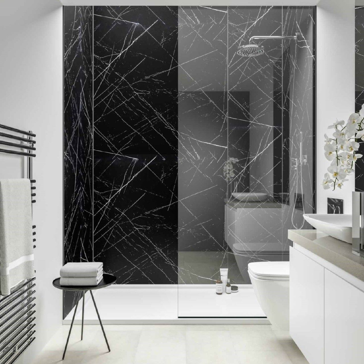 Marble Effect Wall Panels Create A Stylish Stunning Look Without The Expense Or High Maintenanc Black Marble Bathroom Marble Bathroom Designs Marble Bathroom