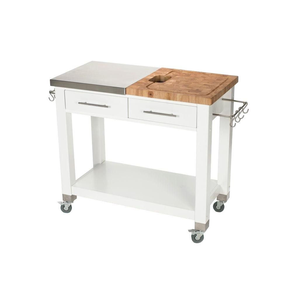 W Chef Work Station With Sliding Wood Top And Stainless Steel Chop Drop System