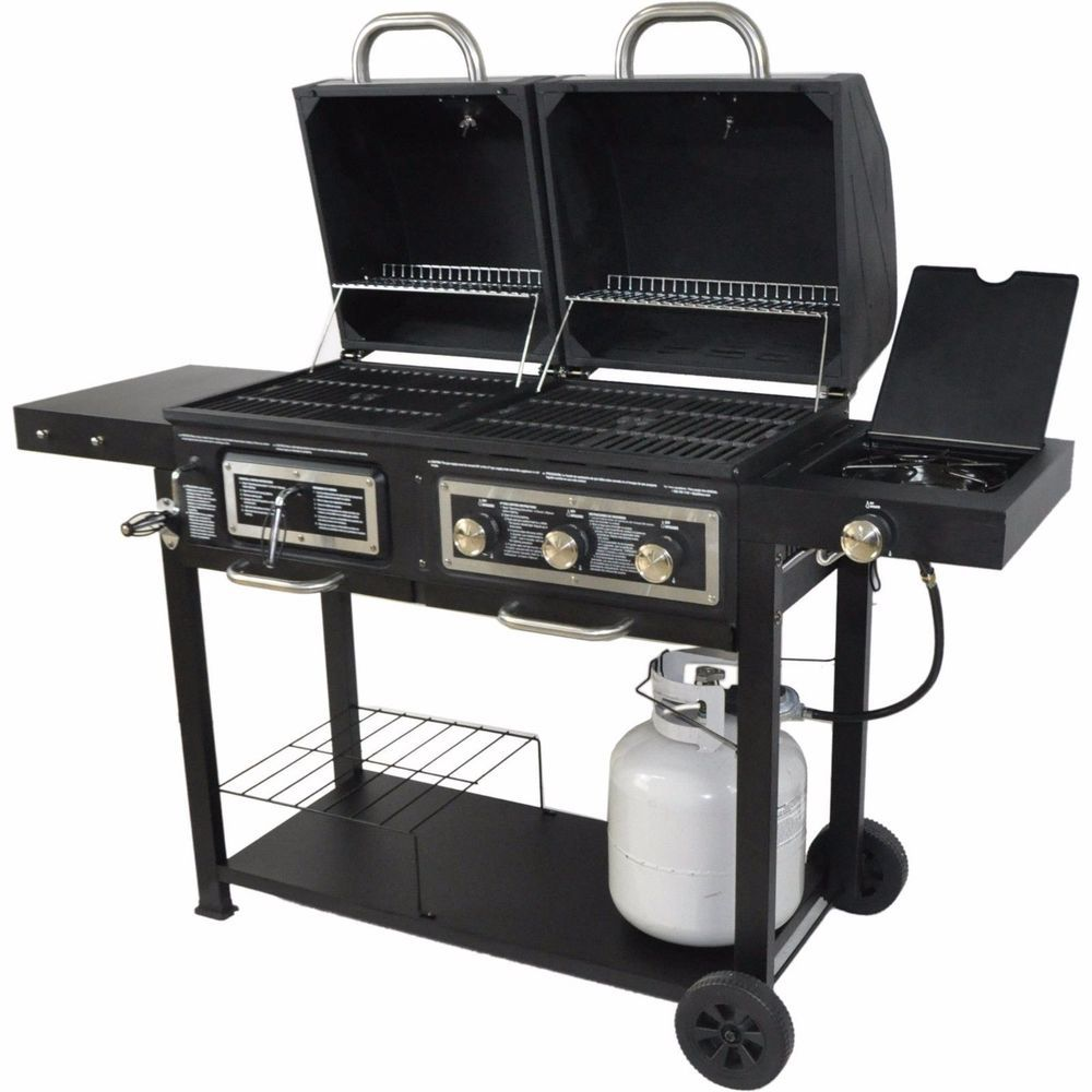 Dual Backyard Grill Gas Charcoal Bbq Propane Burner Outdoor Yard Camping Cooking Branded Gas Barbecue Grill Gas And Charcoal Grill Gas Grill