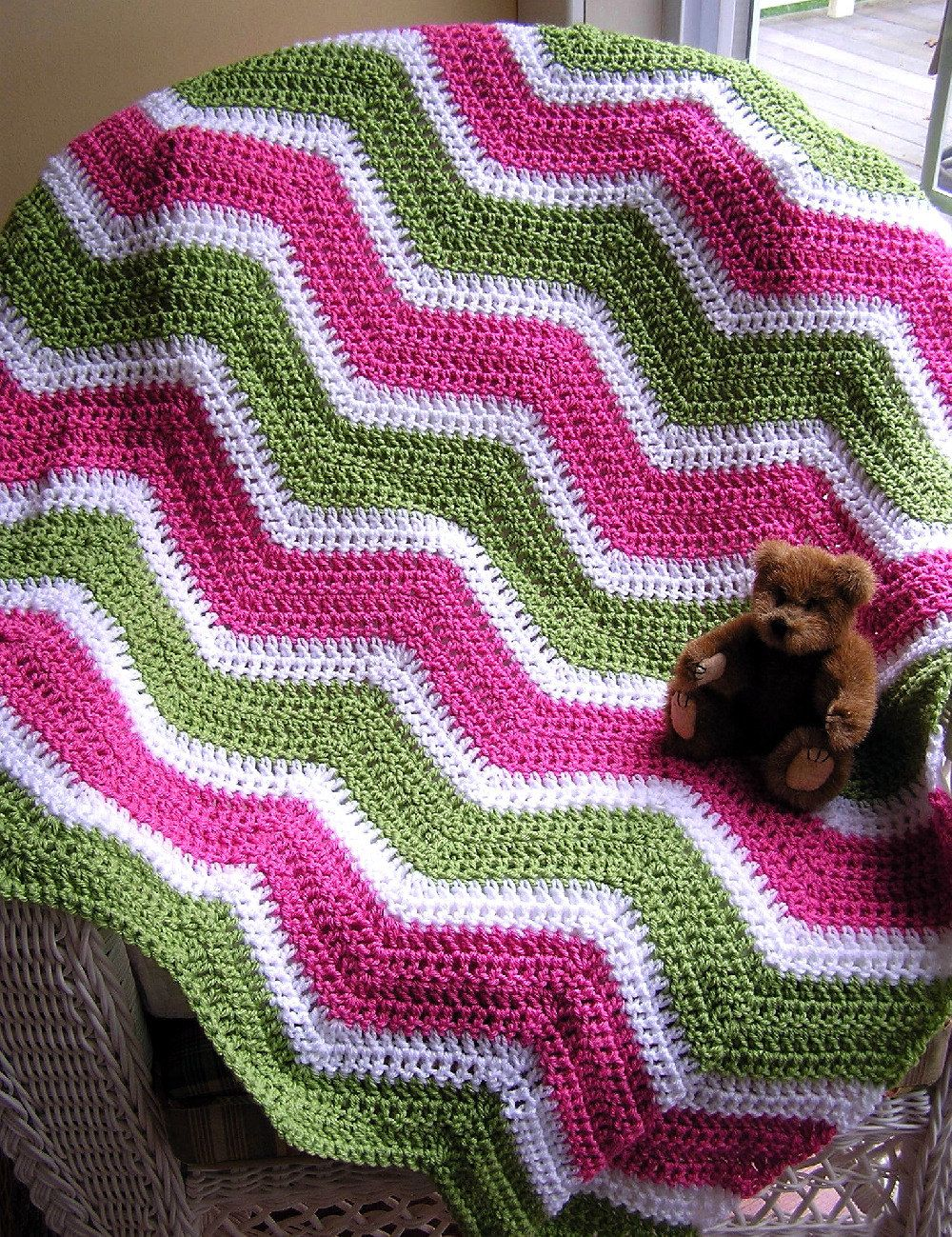 new chevron zig zag baby blanket afghan wrap shawl crochet knit ...