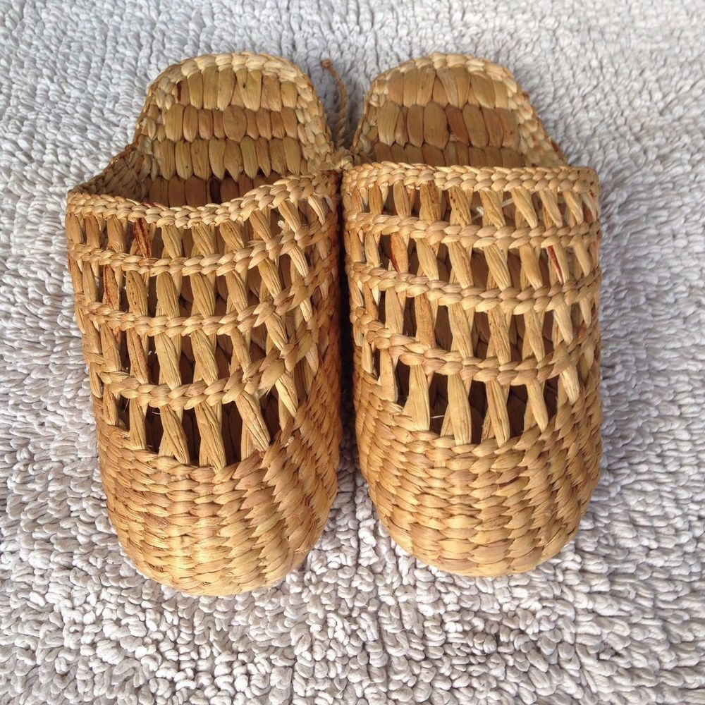 Wicker Slippers Sandal Foot Spa Hand Woven Brown Indoor Summer Shoes ...
