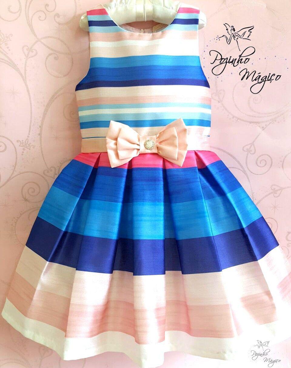 8d5a8766ba Vestido infantil listrado laço Petit Cherie