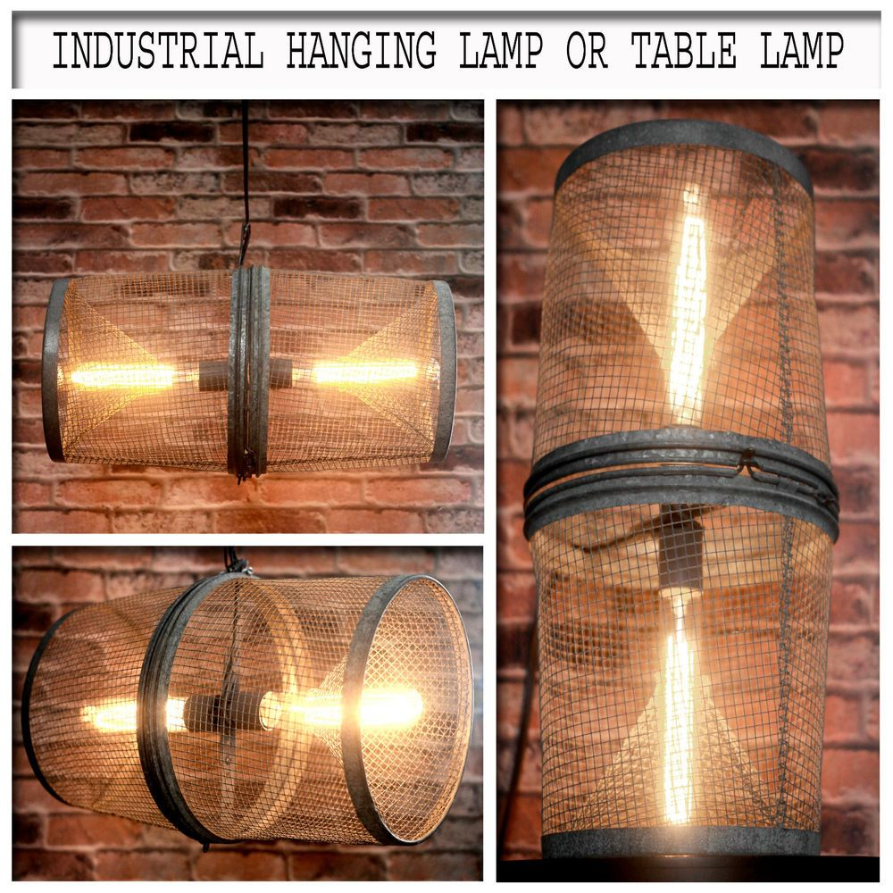 Industrial vintage minnow trap up cycled hanging light or re purposed industrial vintage metal wire minnow trap up cycled into a hanging light or steampunk table lamp with vintage edison light bulbs by on etsy keyboard keysfo Choice Image