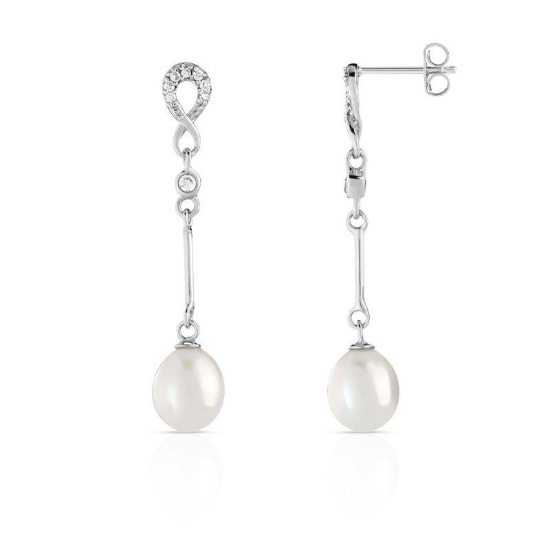 Boucles d'oreilles argent 925 perle de culture zirconia