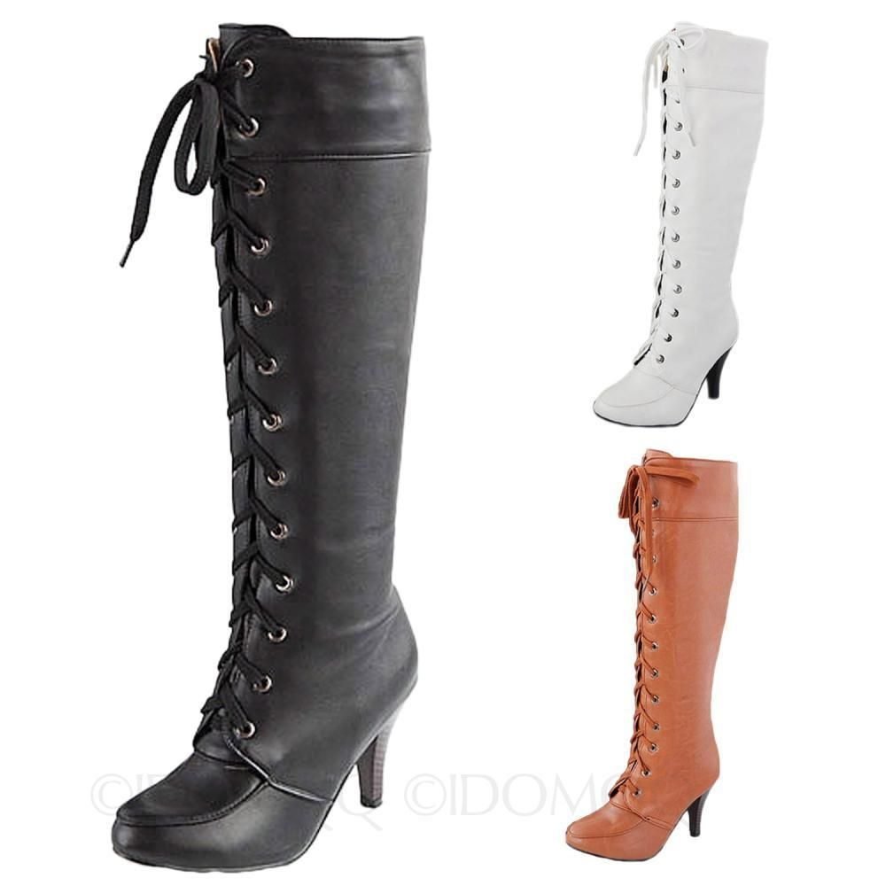 5329be82b28 Combat faux leather Victorian Lace Up Ladies high heel shoes Military Boots  size