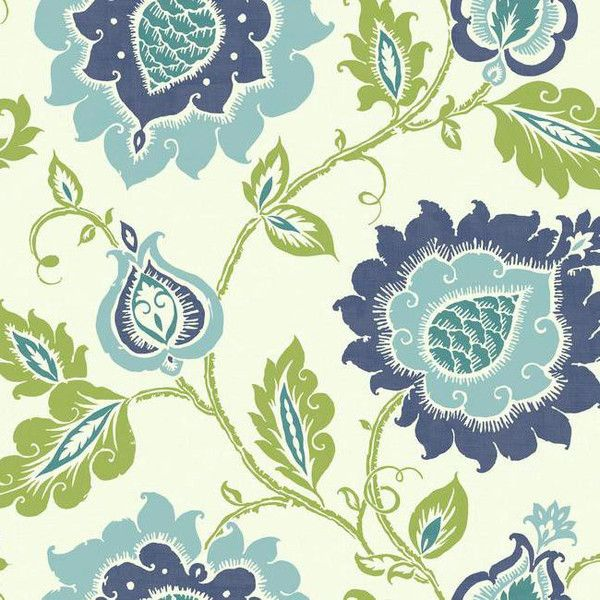 10 Liked On Polyvore Featuring Home Decor Wallpaper Samples Blue Cream Floral Flowered