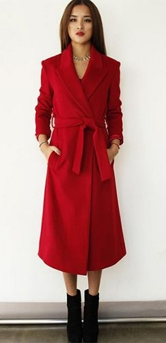 Red Long Sleeve Wool Collar Midi Coat Belted Jacket | New Arrivals ...