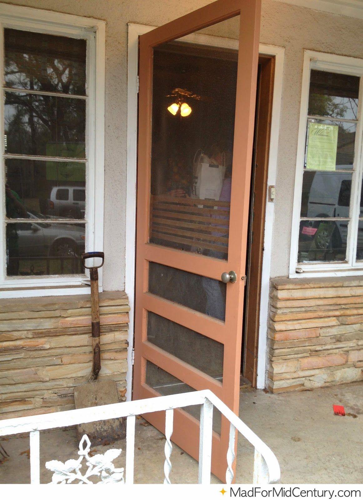 Brown Vintage Screen Door On A Mid Century Home Mid Century Modern
