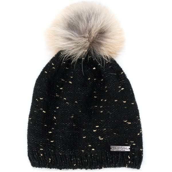 37ba6402dd9b1a Norton racoon fur pom pom flecked hat ($150) ❤ liked on Polyvore featuring  accessories, hats, black, fur pom-pom hats, fur pom pom hat, pom pom hat,  ...