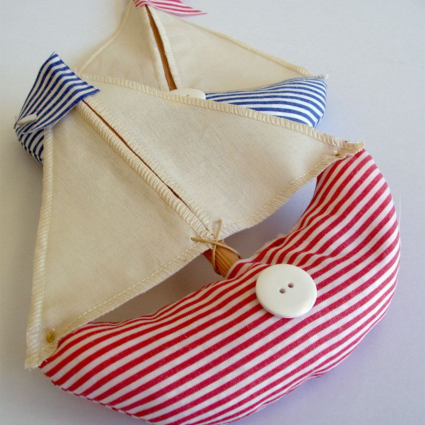 Fabric table boats in red and blue striped fabric, set of 2. $25,00, via Etsy.