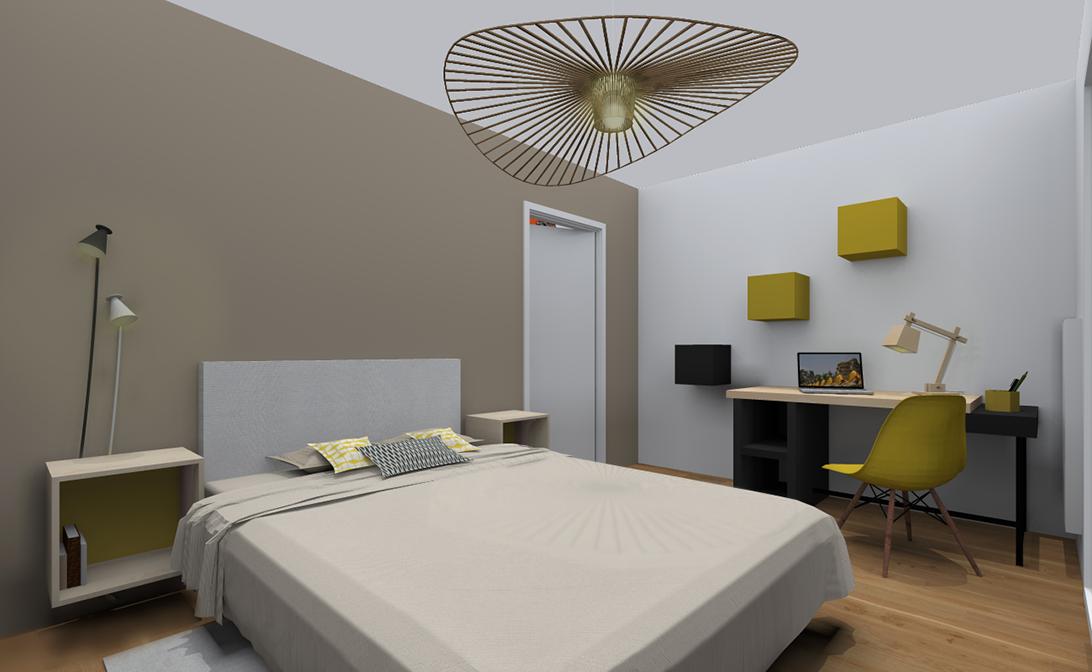 Chambre avec un lit double deux chevets un bureau dans les tons