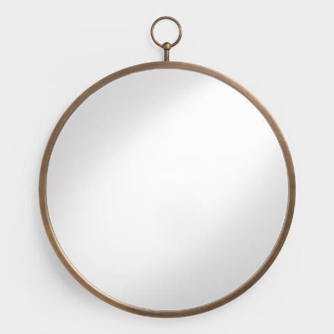 Brass Metal Loop Mirror Leaning Floor Mirror Mirror Wall Brass