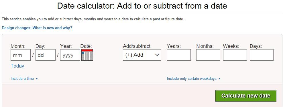 This Service Enables You To Add Or Subtract Days Months And Years To A Date To Calculate A Past Or Future Date Dating Ads Calculator