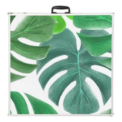 Elegant tropical leaf jungle pattern chic beer pong table | Zazzle.com #junglepattern