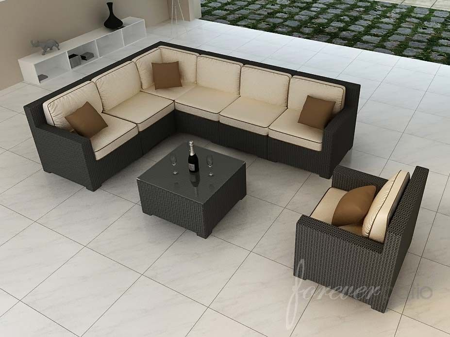 Forever Patio 8 Piece Hampton Wicker Sectional Set