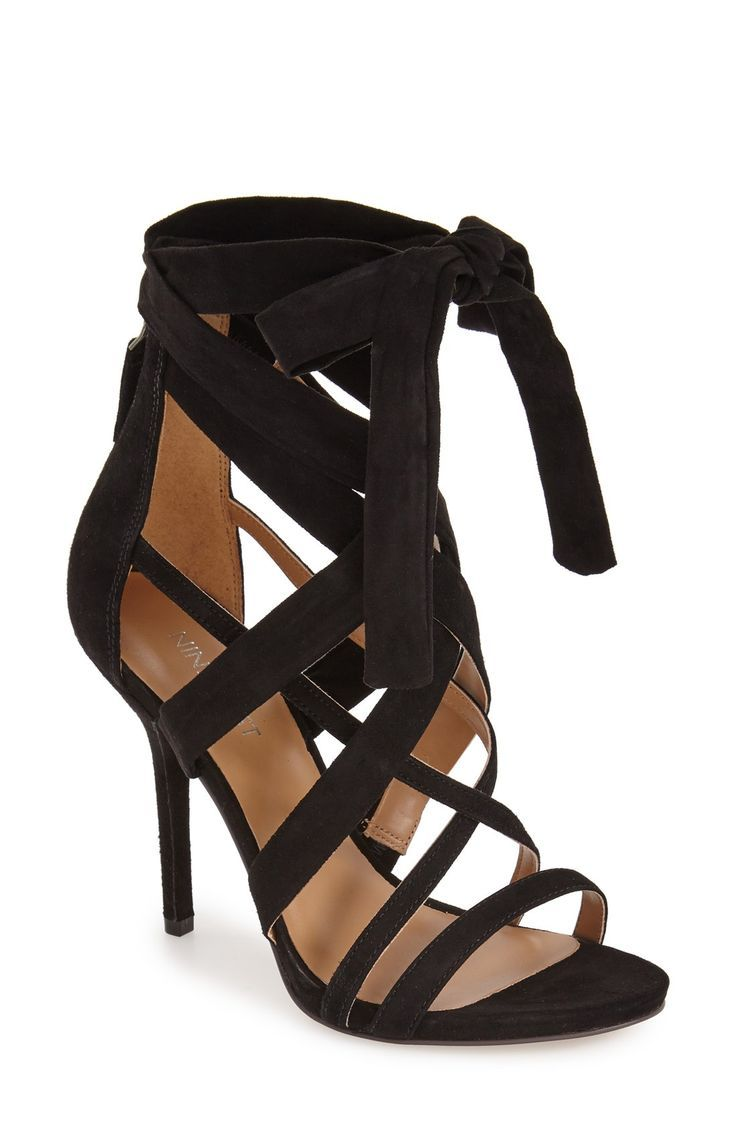 Crossover straps and a dramatic tie detail elevate this stiletto sandal in lush suede. Pairing these with a gorgeous black dress and a statement necklace for a chic look.