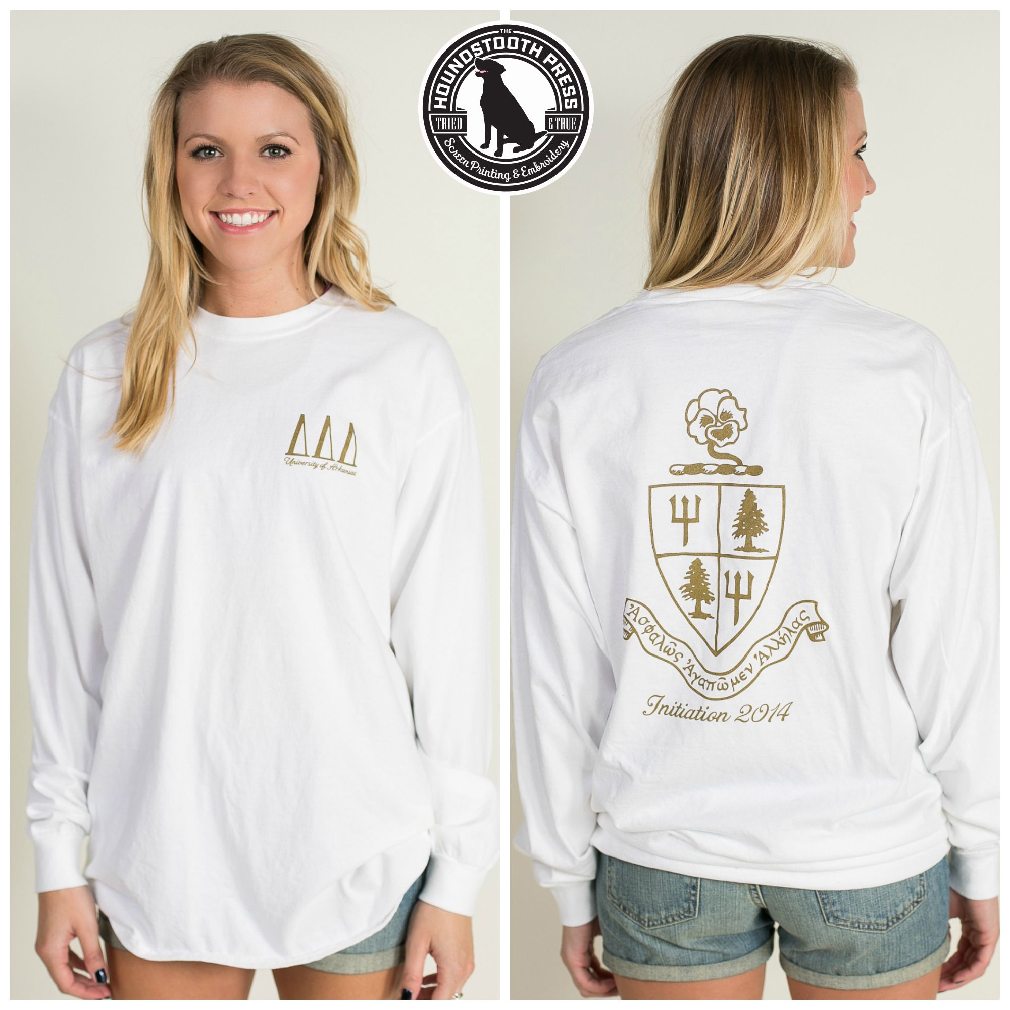 University of Arkansas Tri Delta Initiation T-Shirt. Comfort Colors, White. Love The Lab - Custom Designs - Delta Delta Delta.