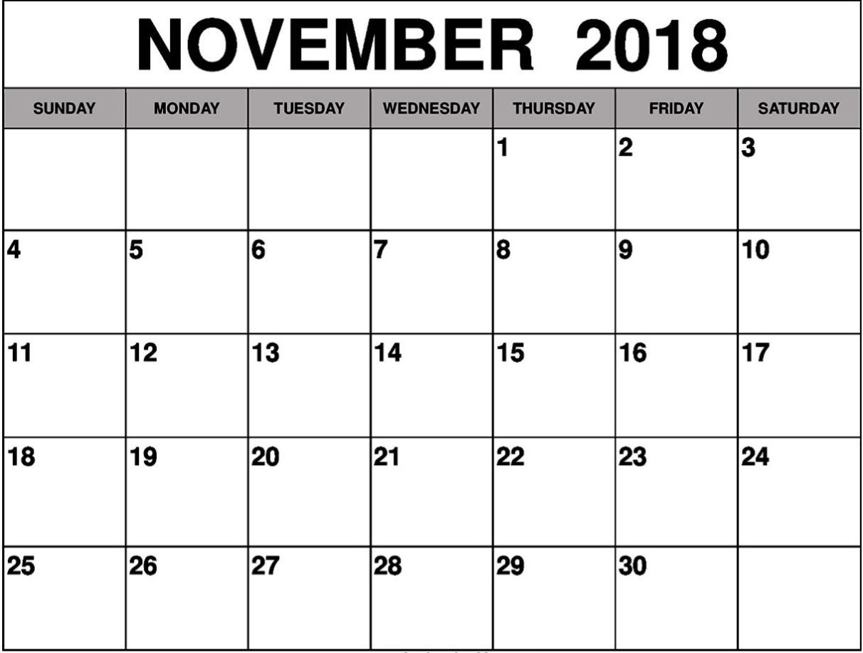 Printable November 2018 Calendar With Notes Calendar Printables