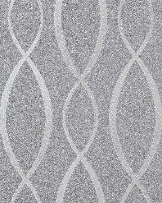 Papel pintado retro edem 1018 16 estilo a os 70 l neas onduladas ornamentos glitter decente gris - Papel pintado anos 60 ...