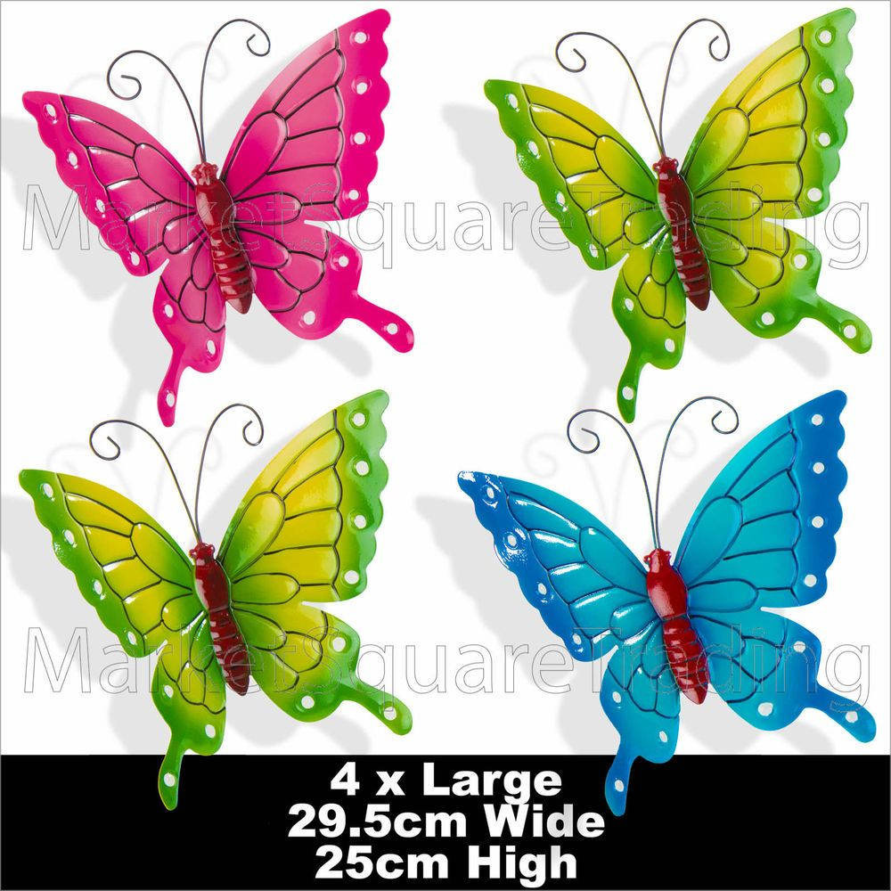 Butterflies x coloured outdoor large metal butterfly garden