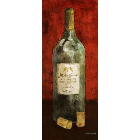Red Wine and Cork II (red background) Canvas Art - Lanie Loreth (10 x 20)