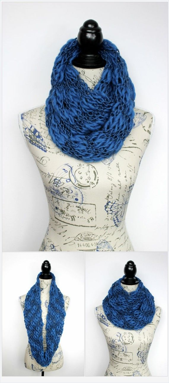 Photo of Long knit scarf Blue hand knit scarf women Chunky knit scarf Large knit shawl Oversize scarf Winter knitted scarves for women Unique gift