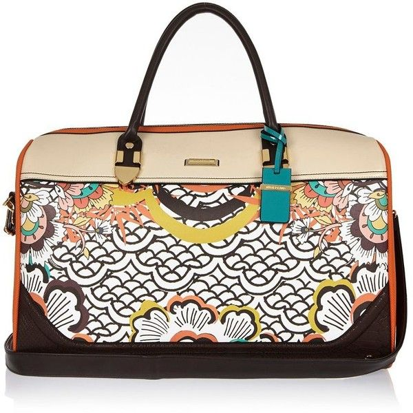 River Island Orange retro floral print weekend bag (375 BRL) ❤ liked on Polyvore featuring bags and luggage