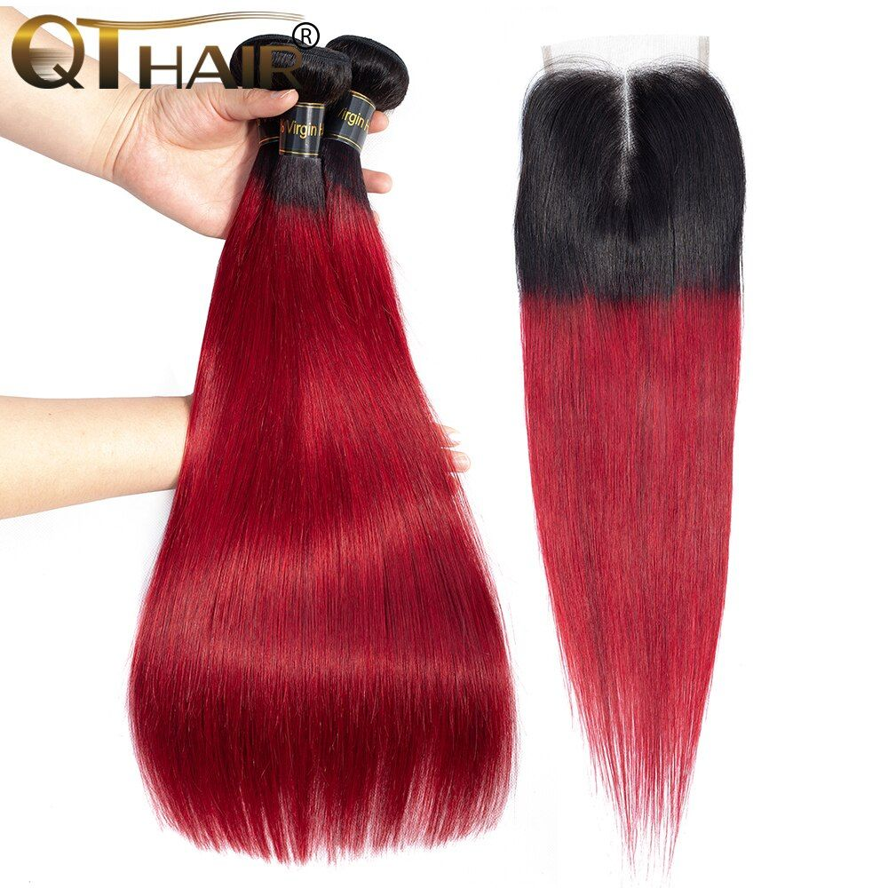 Qt Burgundy Bundles 3 Pcs Ombre Peruvian Straight Human Hair Weave Dark Roots Ombre Wine Red Bundles Peruvia Weave Hairstyles Peruvian Hair Straight Human Hair