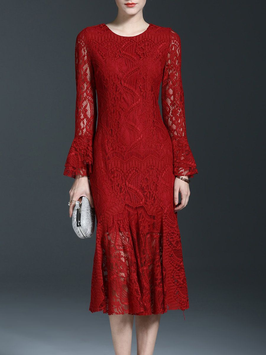 c41bf2cdb7677  AdoreWe  StyleWe Womens - Sicheng.Lisha Guipure Lace Trumpet Sleeve Girly  Crew Neck Mermaid Midi Dress - AdoreWe.com