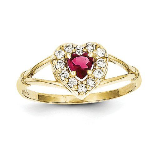 IceCarats Designer Jewelry Size 8 10K Red White Cz Heart Ring