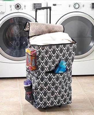 Dorm Laundry Hamper Rolling Portable Clothes Slim Teens Bin Purple Beige Black images