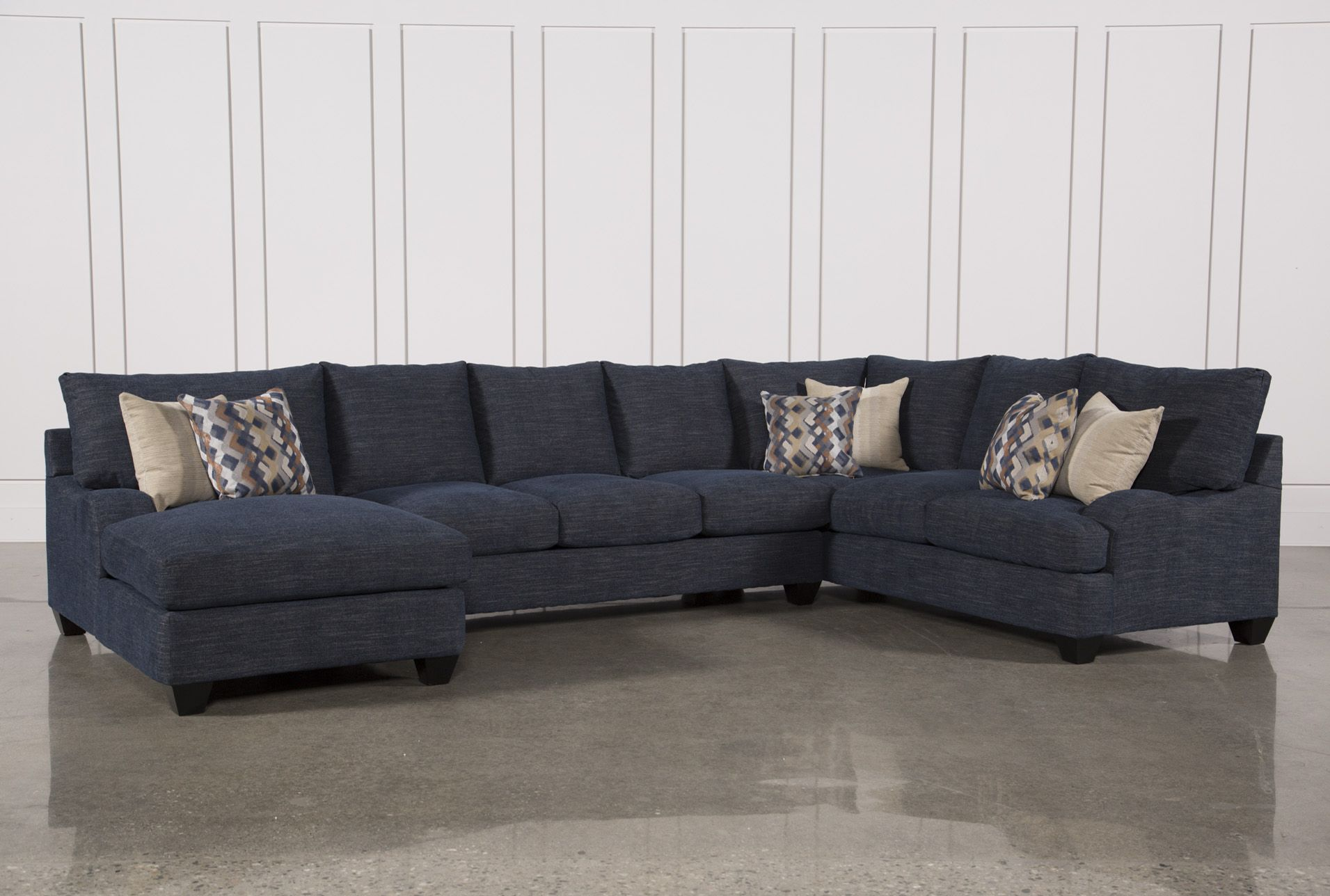 Beau Sierra Down 3 Piece Sectional W/Laf Chaise, Blue, Sofas