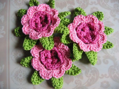 Crocheted pink roses...