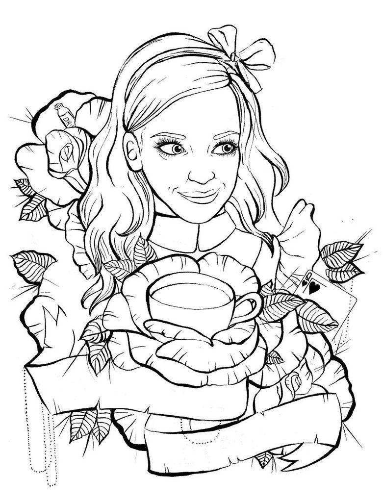 Love Tattoo Outlines: Alice In Wonderland Tattoo Design Outline By Ziuuziuu On