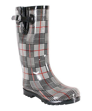 Another great find on #zulily! Black & Red Plaid Puddles Rain Boot #zulilyfinds
