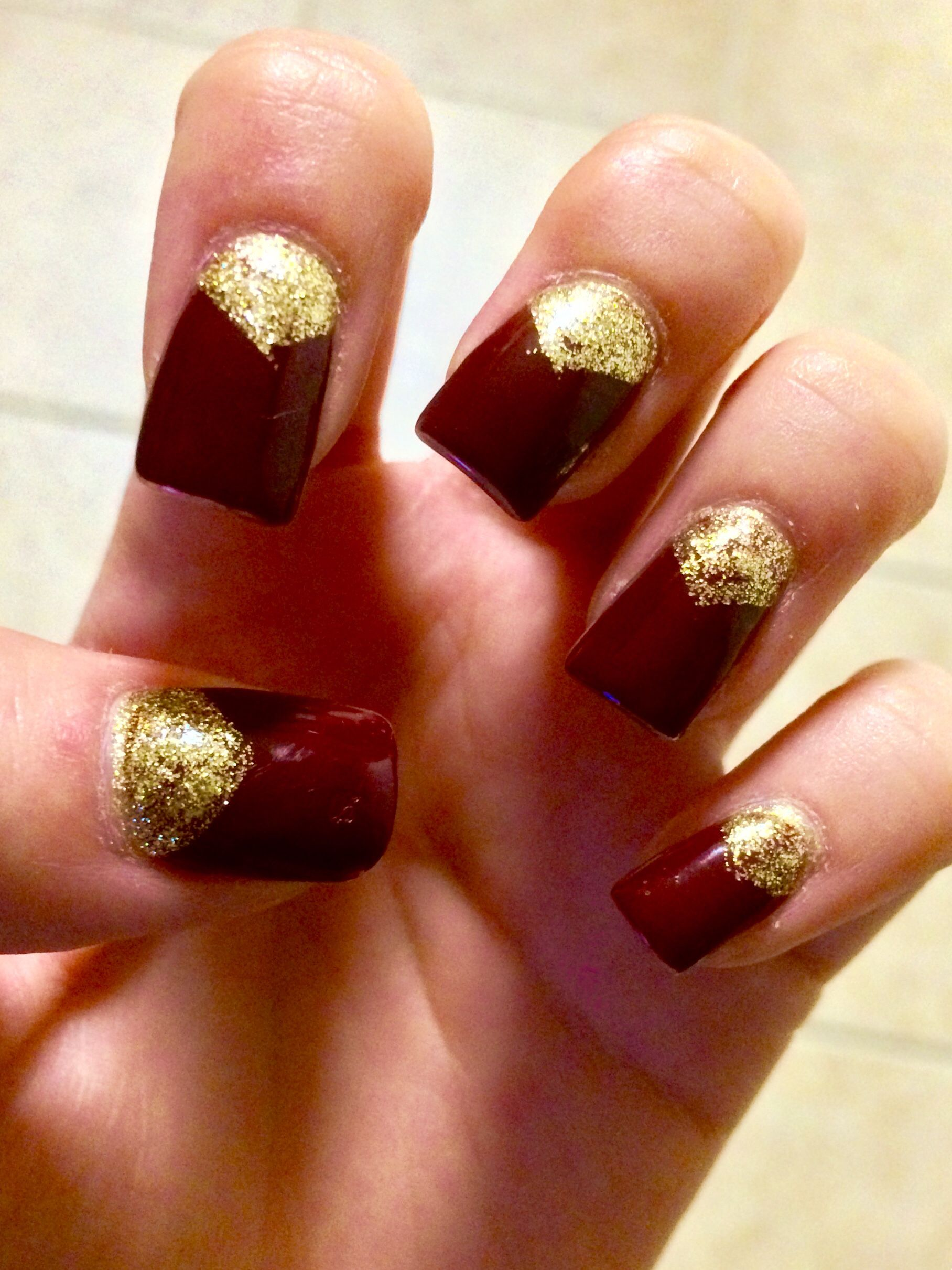 Simple dark maroon nails w gold design, going for a fall color ...