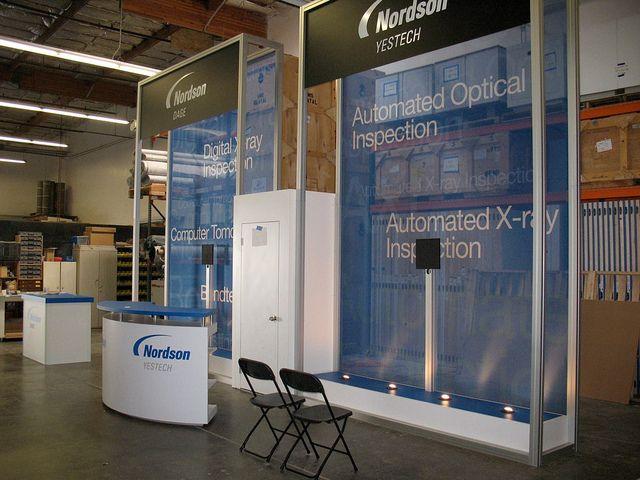Blazer Exhibits Events Rental Nordson 14 Reception Counter Custom Lighting Locker Storage