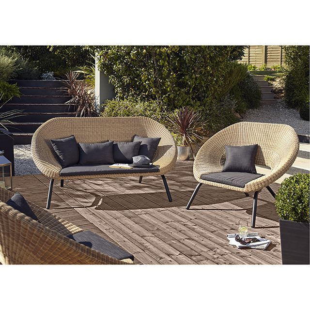 fauteuil de jardin loa lot de 2 green green muebles. Black Bedroom Furniture Sets. Home Design Ideas