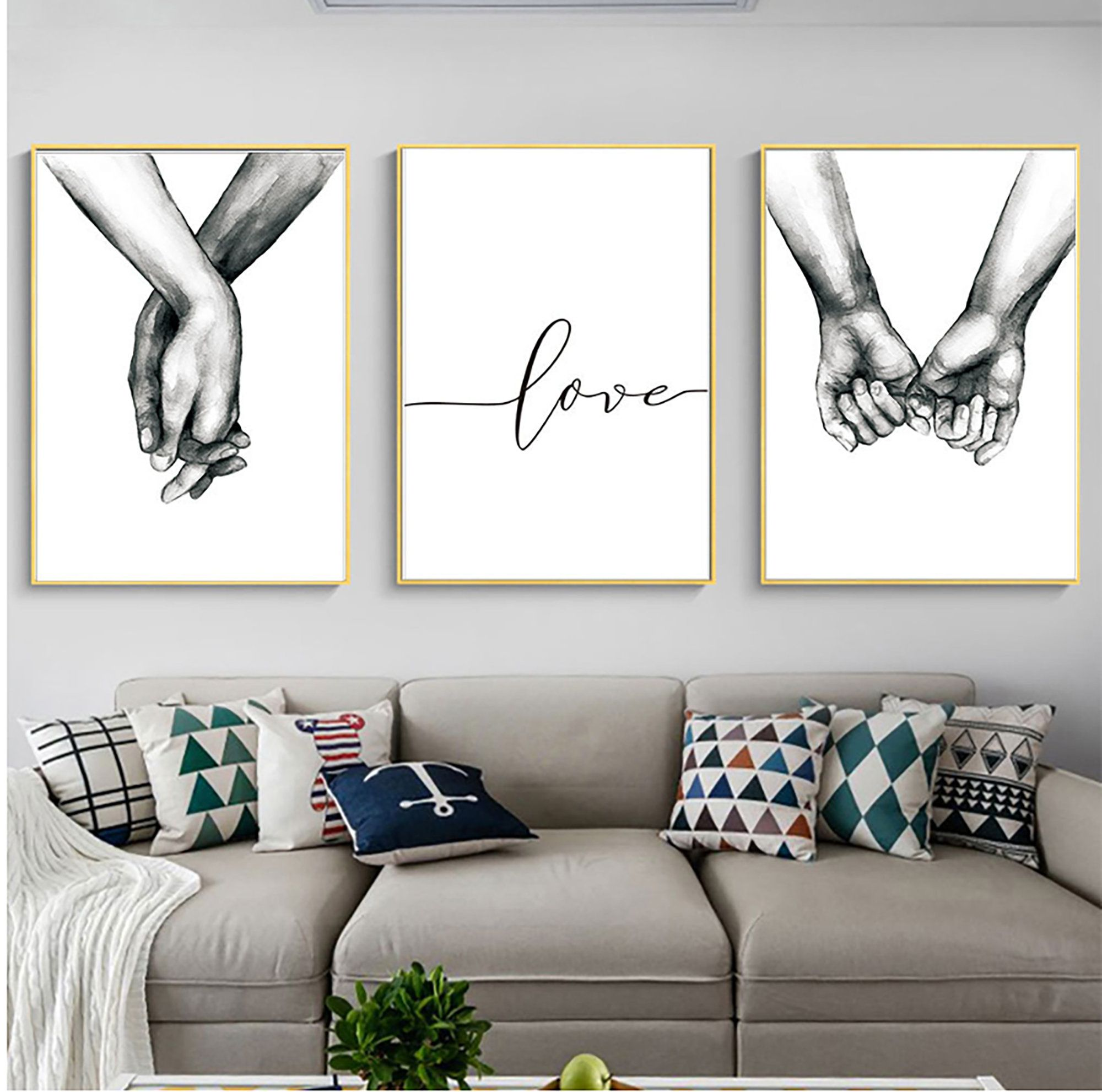Hand In Hand Nordic Contracted Canvas Painting Abstract Sketch Etsy Wall Art Canvas Prints Canvas Wall Art Art Deco Paintings