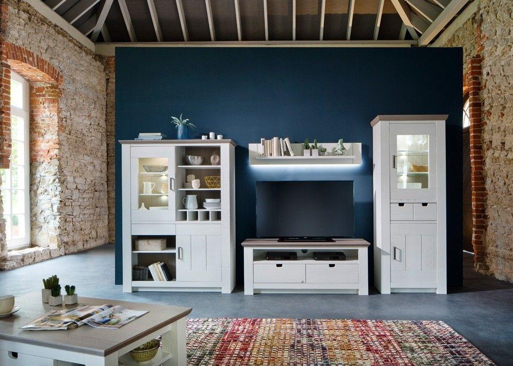 Wonderful Landhaus Wohnwand La Palma Massiv Holz Kiefer Weiß Mit Taupe 22503. Buy Now  At Https