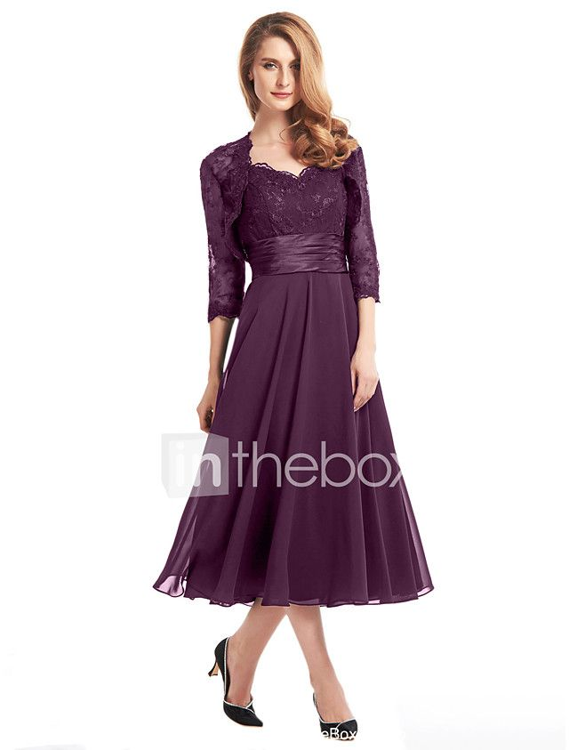 A-Line V Neck Tea Length Chiffon / Corded Lace Mother of the Bride ...